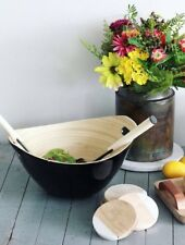 """Bamboo Salad Bowl with Handles and Black Lacquer 9.75"""" x 11.75"""" x 6"""" BEAUTIFUL!!"""