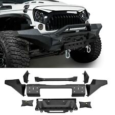 Textured Black Front Bumper w/ Winch Plate for Jeep Wrangler 07-18 JK &Unlimited