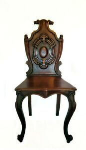 GORGEOUS ANTIQUE DARK WALNUT HAND CARVED SCROLL ACCENT CHAIR WITH CLAW FEET