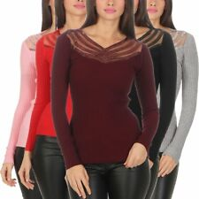 5463 Damen Feinstrick Pullover Strickpullover Langarm V-Ausschnitt Pailletten
