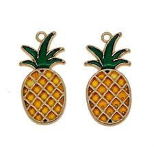 6 pcs Yellow Enamel Pineapple Shaped Metal Charms Pendants Jewelry Accessories