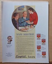 1936 magazine ad for Campbell's Soup - Wife Beaters! women bested by canned soup
