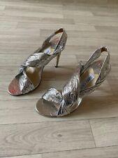 "Jimmy Choo High Heels Metalic Silver EU39 UK6 4"" Stilleto Jimmy Choo Shoes"