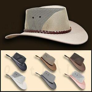【oZtrALa】 Jacaru HAT Pu-Suede Leather Mesh Men Mens Womens Cowboy Golf Outback ~