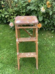 Old Vintage Wooden Folding Step Stool