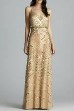 $340 Adrianna Papell Gold Beaded Sequin Chevron Vneck Blouson Gown 4 NWT A989