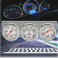 """2"""" Chrome Car Oil Pressure Water Temp Temperature Amp Meter Triple Gauge"""