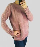 Womens Ladies Pink & Silver Metallic Thread Chenille Soft Knit Jumper