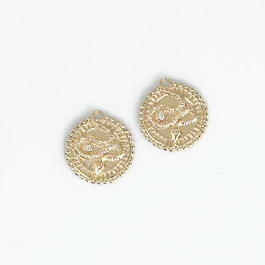14k Gold Filled Snake Charm Gold Medallion Coin Pendant 17mm Round Pendant