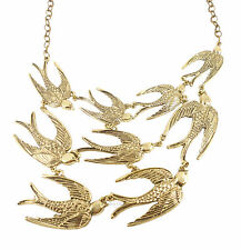 Bronze Multi Birds Swallows Statement Large Costume Jewellery Necklace