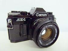 """BLACK"" Canon AE-1 35mm SLR camera+Canon 50mm 1:1.8 Lens ""NEAR MINT"""