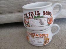 2 x Vintage Recipe Soup Mug / Bowls Chicken & Oxtail