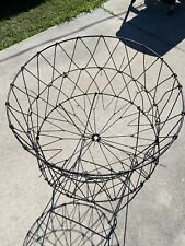 Vintage Laundry Basket Hamper Wire Foldable Metal Round Toys Storage Antique Bin