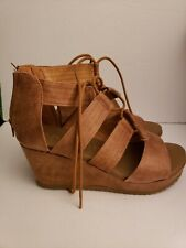Women's Bamboo Beehive Platform Wedge Sandals, brown, 9M new in box cushioned