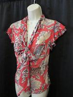 Diane von Furstenberg Silk Faye Blouse Top Ruffle Trim Flutter Sleeves Size 4