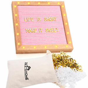 """LED Felt Letter Board with Letters, Numbers, Emojis and Symbols,10"""" x 10"""" PINK"""