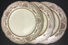 "Vintage Wedgwood TRIANON 3 Salad Plates 8 7/8""~flowers~brown~pink~England"