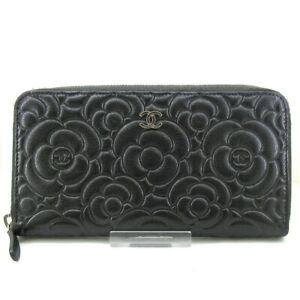 Auth CHANEL Camellia A82281 Dark Gray Leather Long Wallet