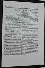 FAC-SIMILE JOURNAL LE MIROIR N°115 22/08 1796 ROYALISTE BONAPARTE ITALIE