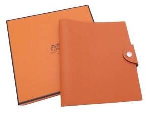 Auth HERMES Sqaure N (2010) Note/Agenda Cover Orange Leather - e47557