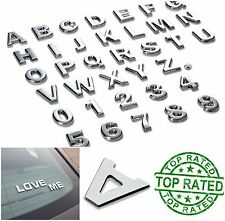 3D Metal Emblem Sticker Chrome Letters Number 40 Pcs Silver Car Logo Text Decal