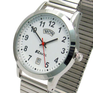 Ravel Men's Day/Date Watch Expanding Bracelet Silvertone 0706.20.1EX
