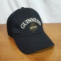 Guinness Curved Bill Black Ball Cap Hat w/ Shamrock 1759 Embroidered Logo