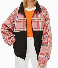 NEW TopShop Women's Windbreaker Jacket Black Pink US Size 8/10 Plaid Print NWT