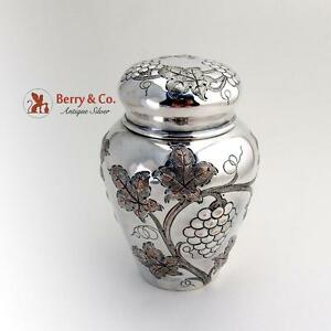 Grape Repousse Tea Caddy Silver Plated Copper E G Webster Son 1910