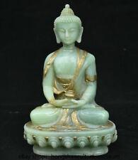 "8"" Chinese Old Green Jade Gilt Carved Shakyamuni Amitabha Buddha Pot Statue"