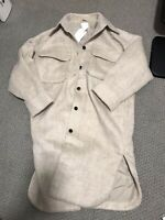 H&M Oversized Long Shacket Wool-Blend Coat Beige Melange sz M Petite Blogger NWT