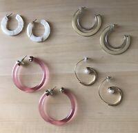 4 Pair Of Hoop Earrings Post Back Brand New Kendra Bittar Nordstrom Lucite Pearl