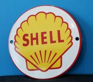 """VINTAGE SHELL GASOLINE PORCELAIN GAS MOTOR OIL 6"""" SERVICE STATION PUMP SIGN"""
