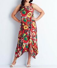 Stunning Red Maxi Floral Maxi Dress- Size 20 (Free Post)