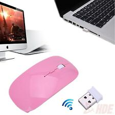 2.4GHz Slim Pink Optical Wireless Mouse Mice USB Receiver for Laptop PC Macbook