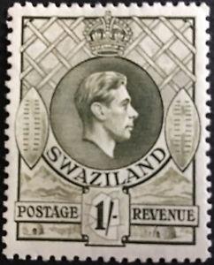 Swaziland GVI 1938 1/- Olive  Perf 131/2 x 13  SG35 Lightly Mounted C/V £28.