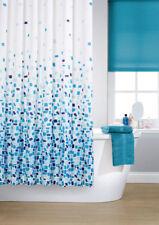 KAV Vibrant Mosaic Blue Polyester Shower Curtain Including 12 White Hooks