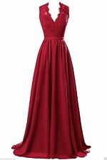 Plus Size 2-26W Lace Long V-Neck Bridesmaid  Evening Party Prom Chiffon Dress