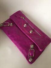 Balenciaga Magenta Pink Leather SHW Giant Envelope Clutch Bag