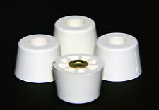 FOUR (4) MEDIUM EXTRA TALL WHITE ROUND RUBBER FEET FOR AMPS RADIO  - FREE S&H