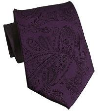 New Men's Polyester Woven Neck Tie necktie only dark purple paisley prom wedding