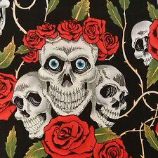 per 1/2 metre Halloween Goth fabric materials 100% cotton vampire pirate skulls