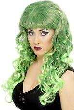 Long Green Witch Hair Halloween Fancy Dress Adult Female Womens Wig