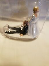 NEW Bride Dragging Groom Funny Couple Wedding Cake Topper