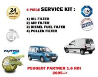 FOR PEUGEOT PARTNER 1.6 HDI 2005 >NEW OIL AIR FUEL POLLEN 4 FILTER SERVICE KIT