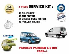 FOR PEUGEOT PARTNER 1.6 HDI 2005-->NEW OIL AIR FUEL POLLEN 4 FILTER SERVICE KIT