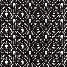 PUNK ROCK DAMASK SKULLS ON BLACK FABRIC MATERIAL From David Textiles, NEW