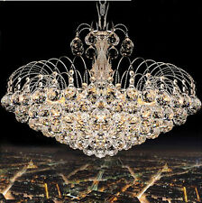 Luxurious K9 Clear Crystal Chandelier Rain Droplets Chrome Finish Pendant Lamp