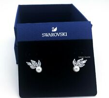 Authentic SWAROVSKI White Crystal Louison Pearl Pierced Stud Earrings 5422683