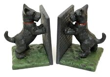 Cast Iron Scottie Standing Bookends Colorful